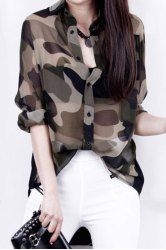 Casual Shirt Collar Long Sleeves Camouflage Color Asymmetric Blouse For Wonen