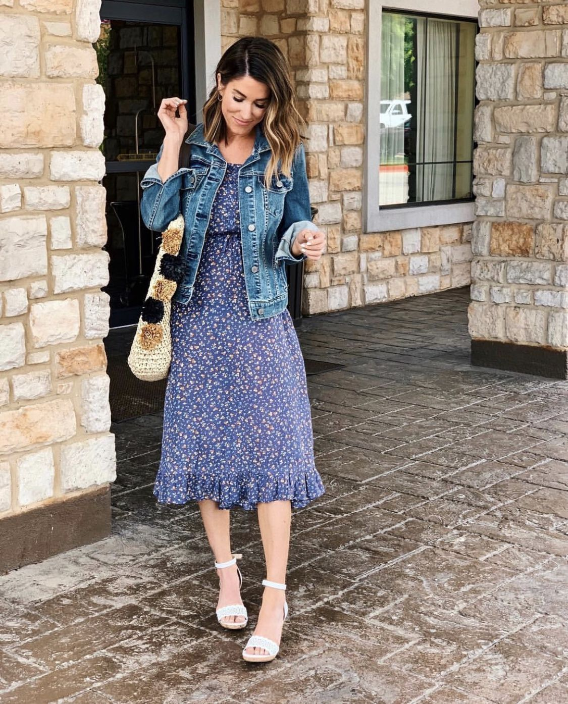 30 Ways To Style A Denim Jacket The Sister Studio Jacket Outfit Women Modest Casual Outfits Denim Jacket With Dress [ 1395 x 1125 Pixel ]
