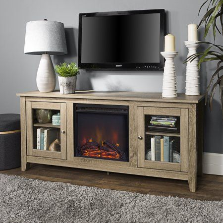 Walker Edison 58 In Electric Fireplace Tv Stand With Doors Beige