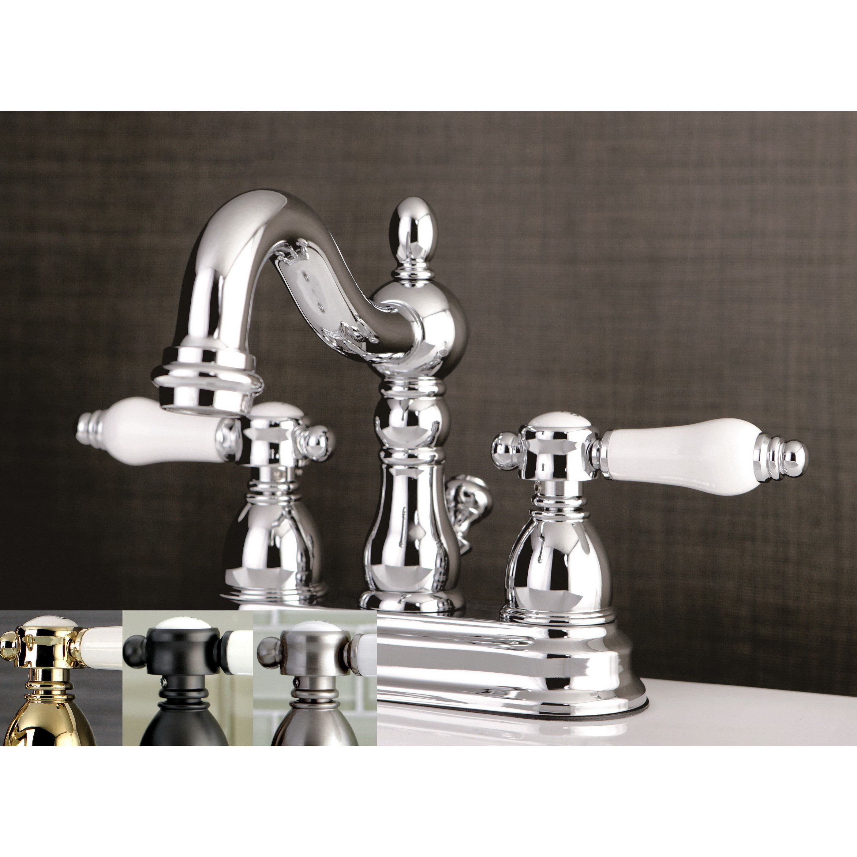 Kingston Brass Victorian Porcelain Handles Bathroom Faucet (Silver ...