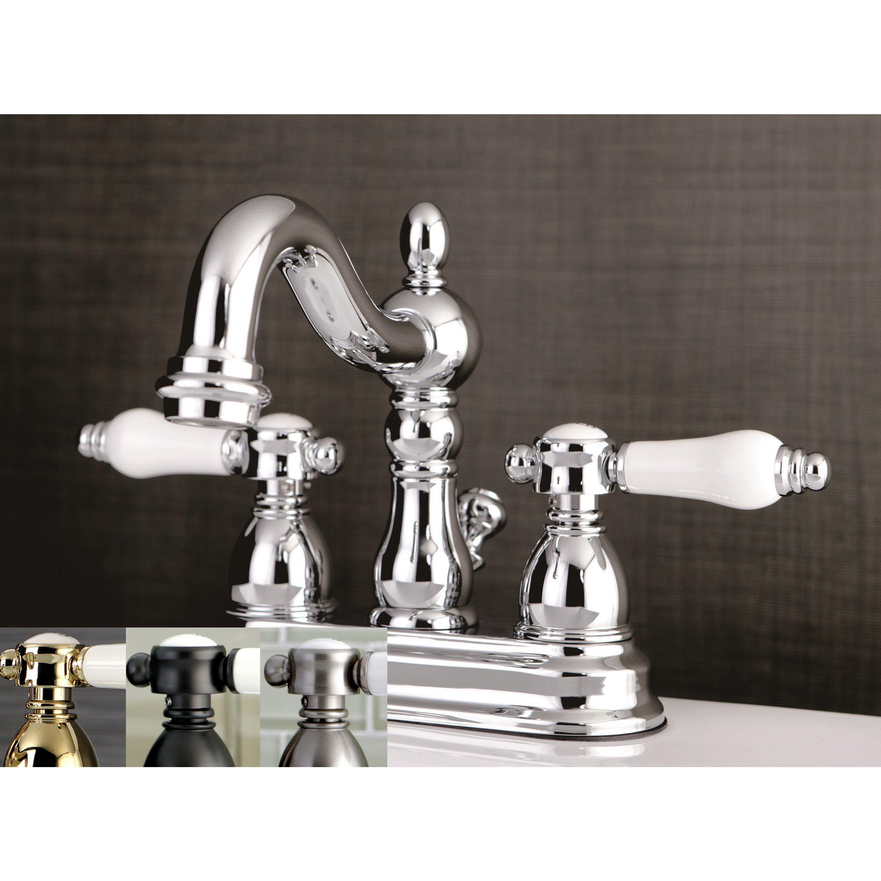 Victorian Porcelain Handles Bathroom Faucet Satin Nickel Grey Entrancing Porcelain Handle Bathroom Faucet Decorating Design