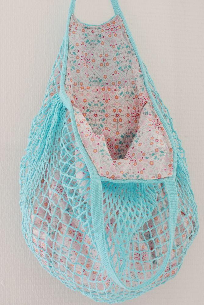 Filet à provisions aqua, liberty Delfie Super pretty summer bag ( reversible), trop beau !