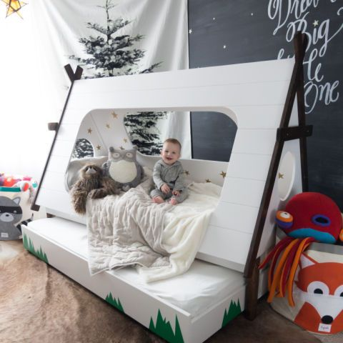 This Cool Mom Made An Awesome Teepee Bed For Her Son Diy Toddler Bed Toddler Boys Room Kid Beds
