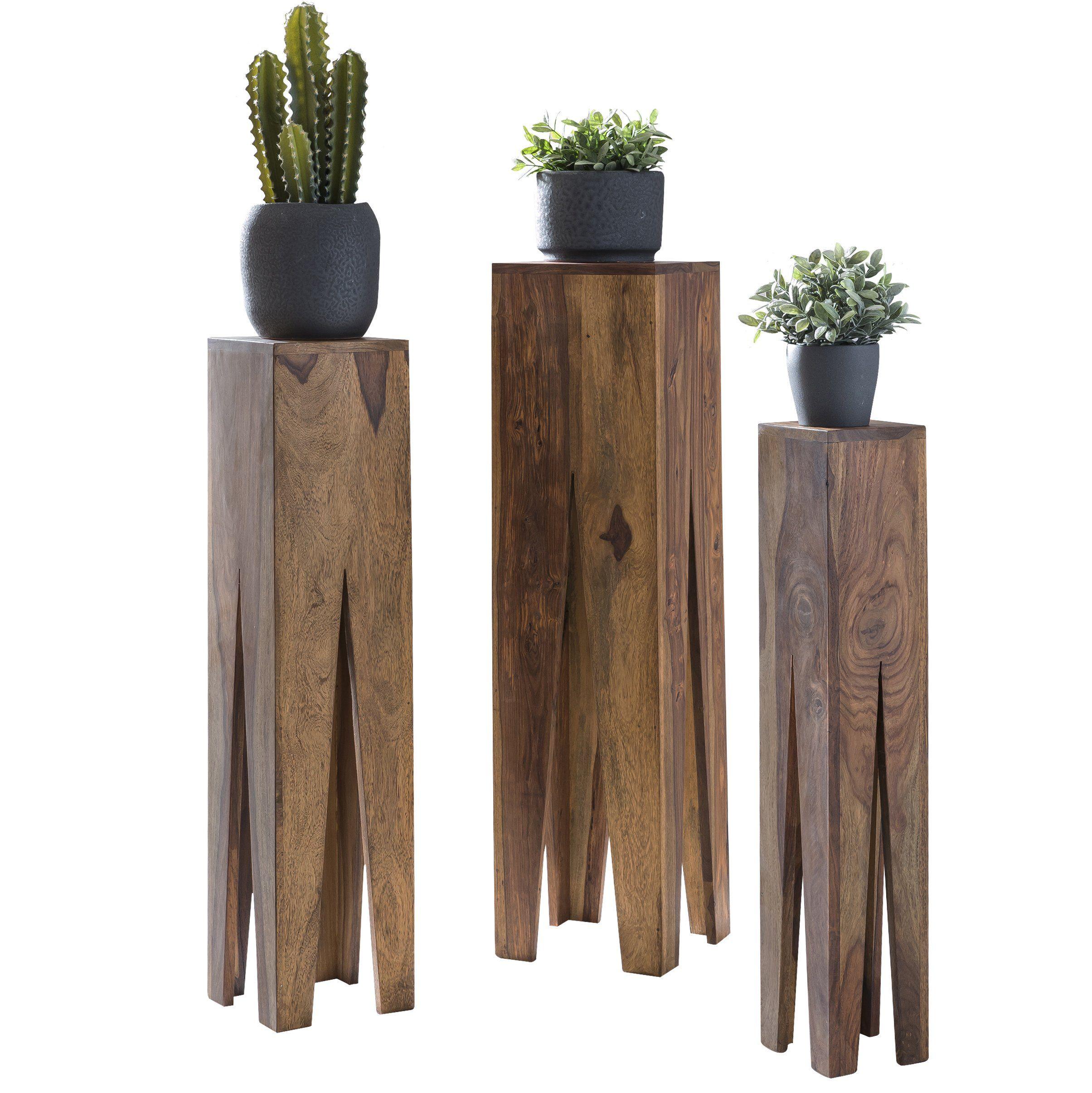 Wohnling Beistelltisch 3er Set Massivholz Sheesham Wohnzimmer Tisch Design S Ulen Landhausstil Couchtisch Quad In 2020 Holztisch Natur Couchtisch Quadratisch Holztisch