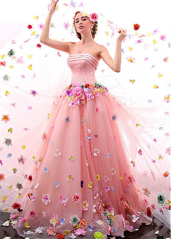 Unique Tulle & Satin Strapless Neckline A-Line Wedding Dresses With ...