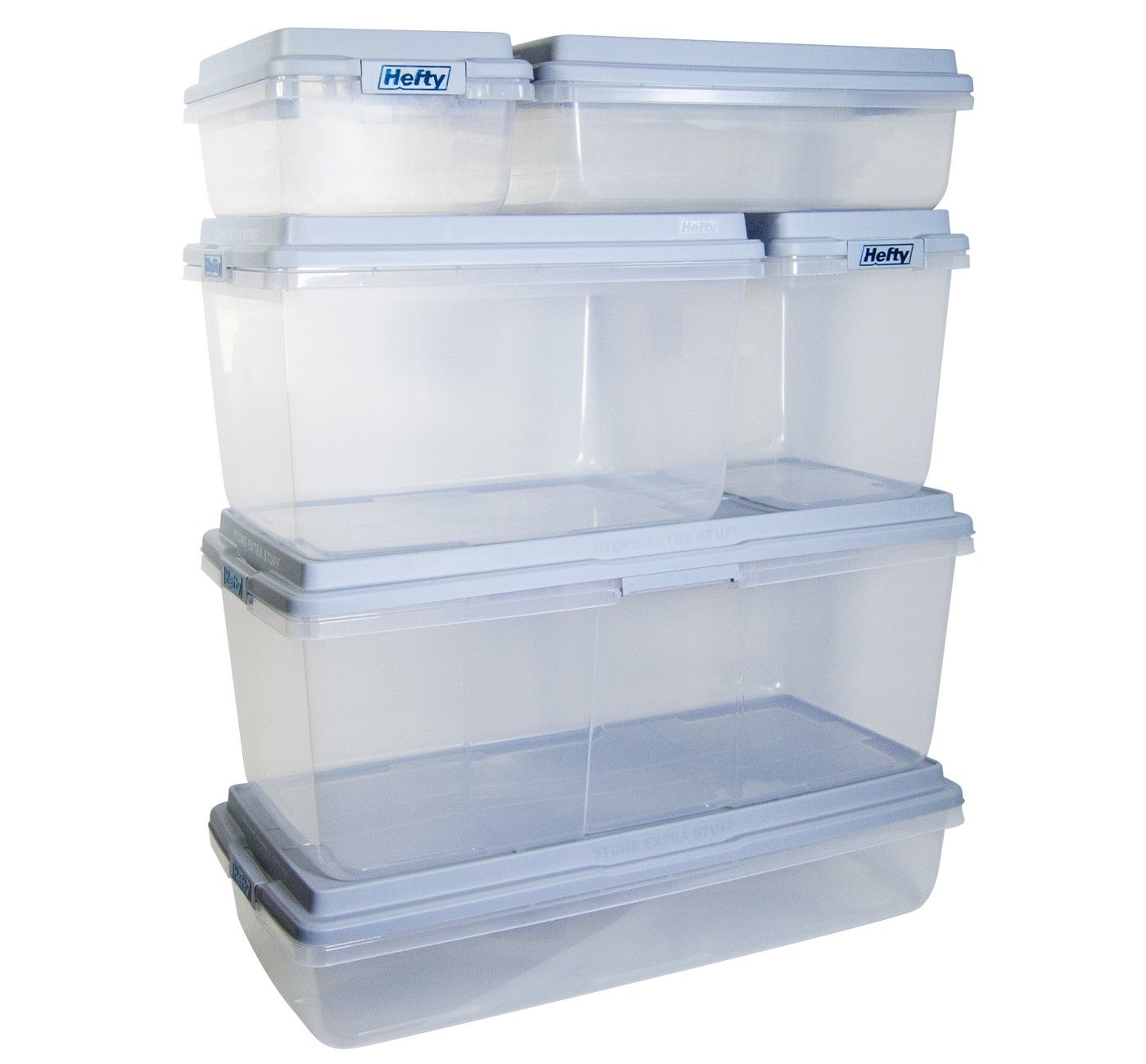 Hefty 18qt Plastic Storage Bin with Gray HIRISE Stackable