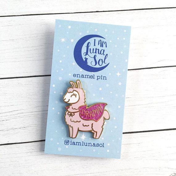 Lovely Drama Llama Hard Enamel Pin // Kawaii Alpaca Glitter Funny