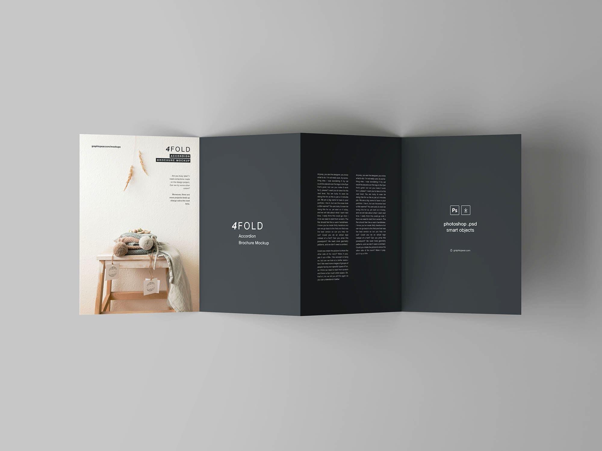 Free 4 Fold Accordion Brochure Mockup Broschure Design Broschure Broschurendesign
