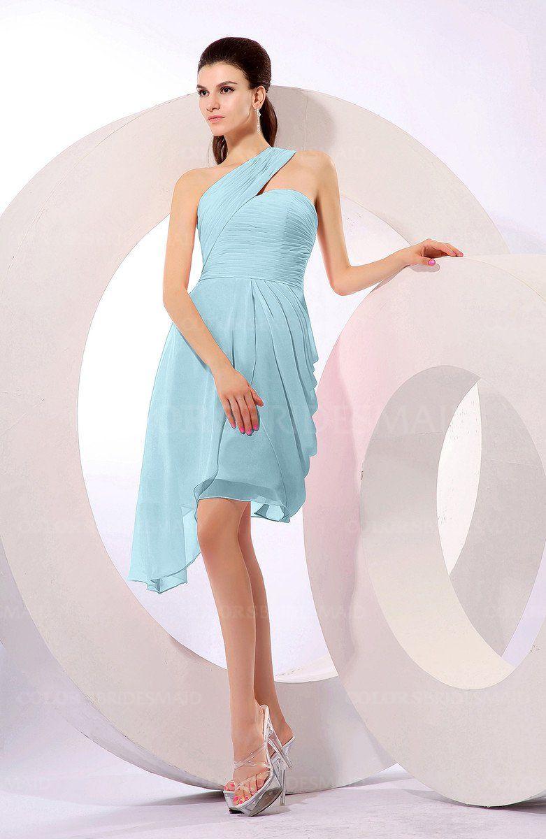 Aqua Hawaiian A-line One Shoulder Chiffon Pleated Bridesmaid Dresses ...