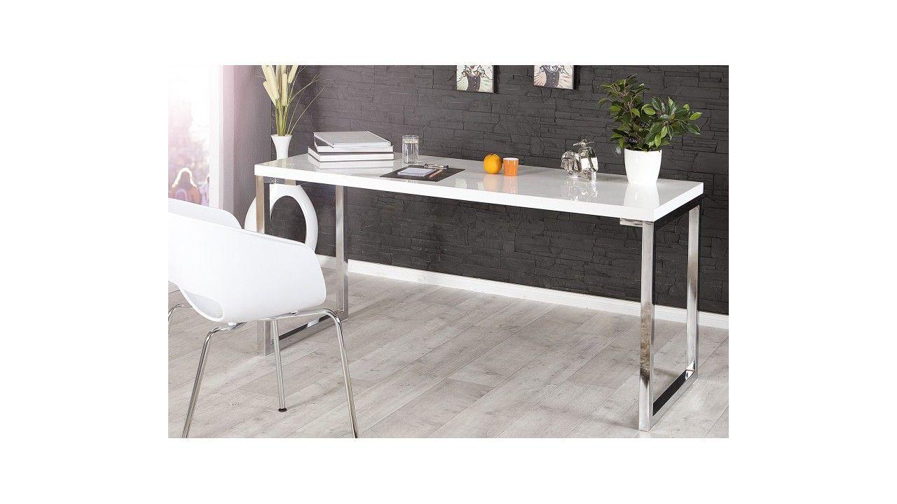 bureau design laque blanc justin 140 cm