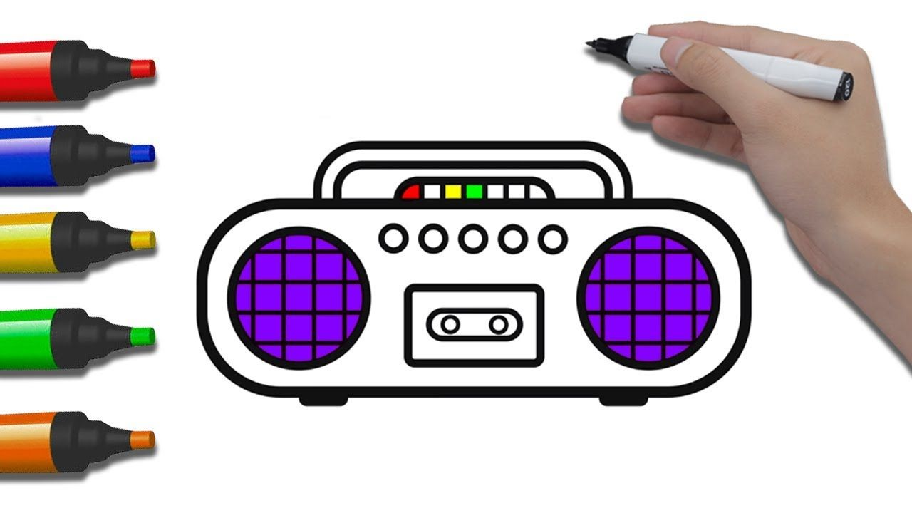 Coloring Radio Cassette How To Draw For Kids Coloring Pages For Childre Drawing For Kids Coloring For Kids Coloring Pages For Kids