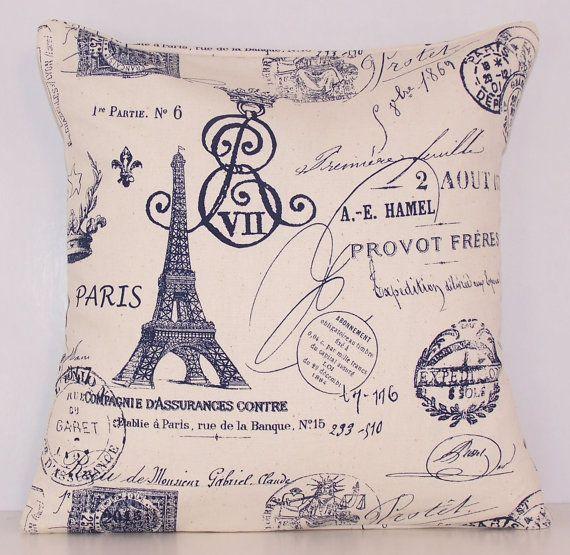Dark Blue Pillow, France, Eiffel Tower, Travel,Toss Pillow, Navy Pillow, Lumbar,Couch Pillow,Throw Pillow,Various Sizes,Blue and Natural