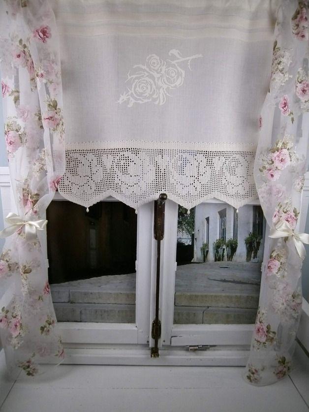 Diese Romantische Gardine Aus Reinem Zart Gewebtem Leinengewebe Sorgt Fur Ein Angenehmes Licht Und Ein Ger Fensterdekoration Gardinen Gardinen Kuche Landhaus