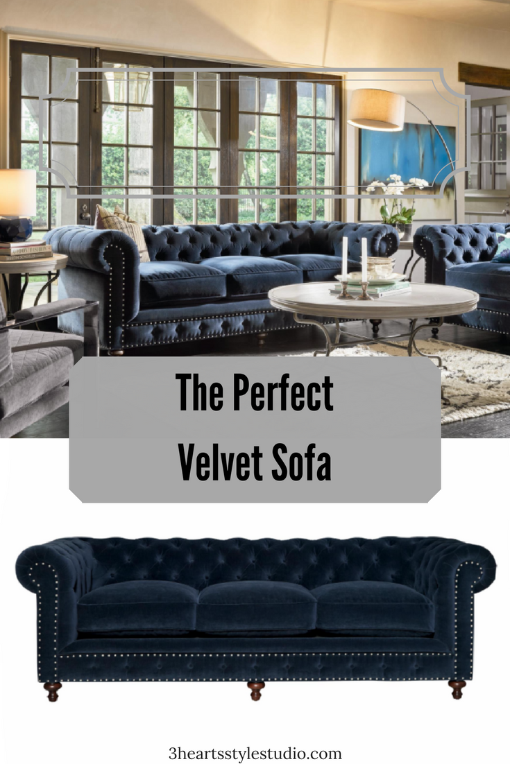 Blue Velvet Meets Rustic For The Perfect Living Room Sofa