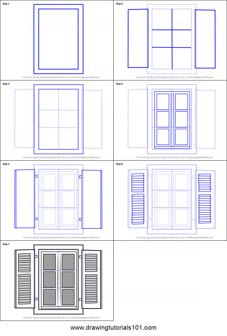 How To Draw Open Window Printable Drawing Sheet By Drawingtutorials101 Com Drawing Sheet Open Window Perspective Drawing Lessons