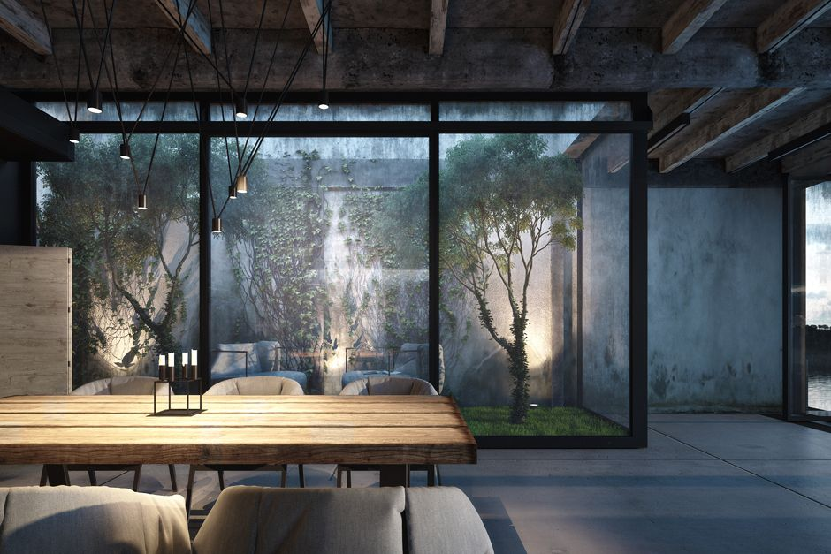 Eclectic vintage construction in da house by igor sirotov architects spacious da house design interior in dining space decorated with rustic contemporary