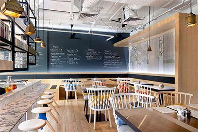 Simple but unique caf interior design in singapore for Waterfall restaurant design