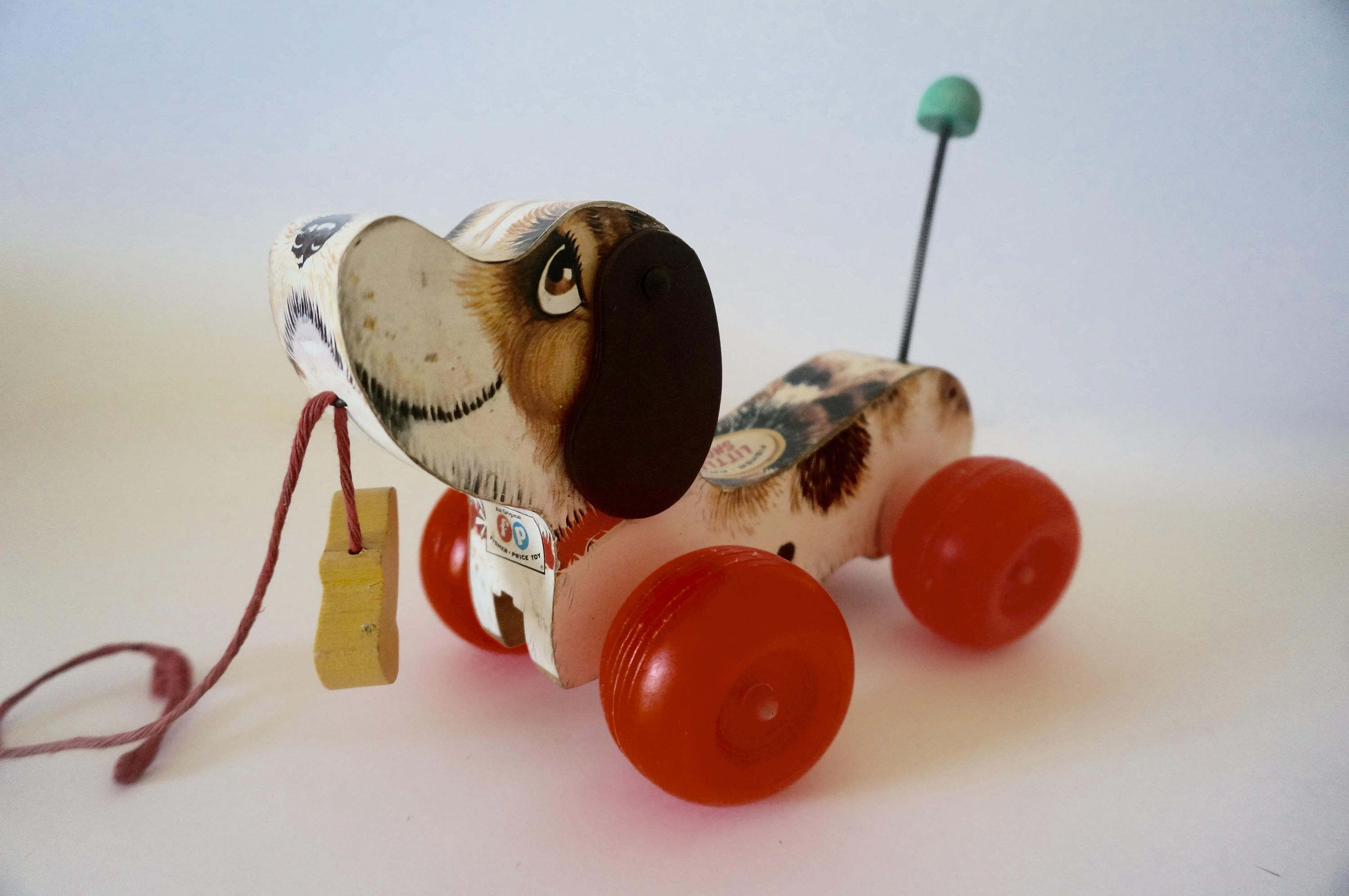 Fisher Price Wooden Dog Vintage Wooden Dog On Wheels Pull