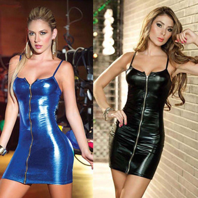 PVC Bodysuit Black strap outfit clubwear mini dress one size M PVC Lingerie