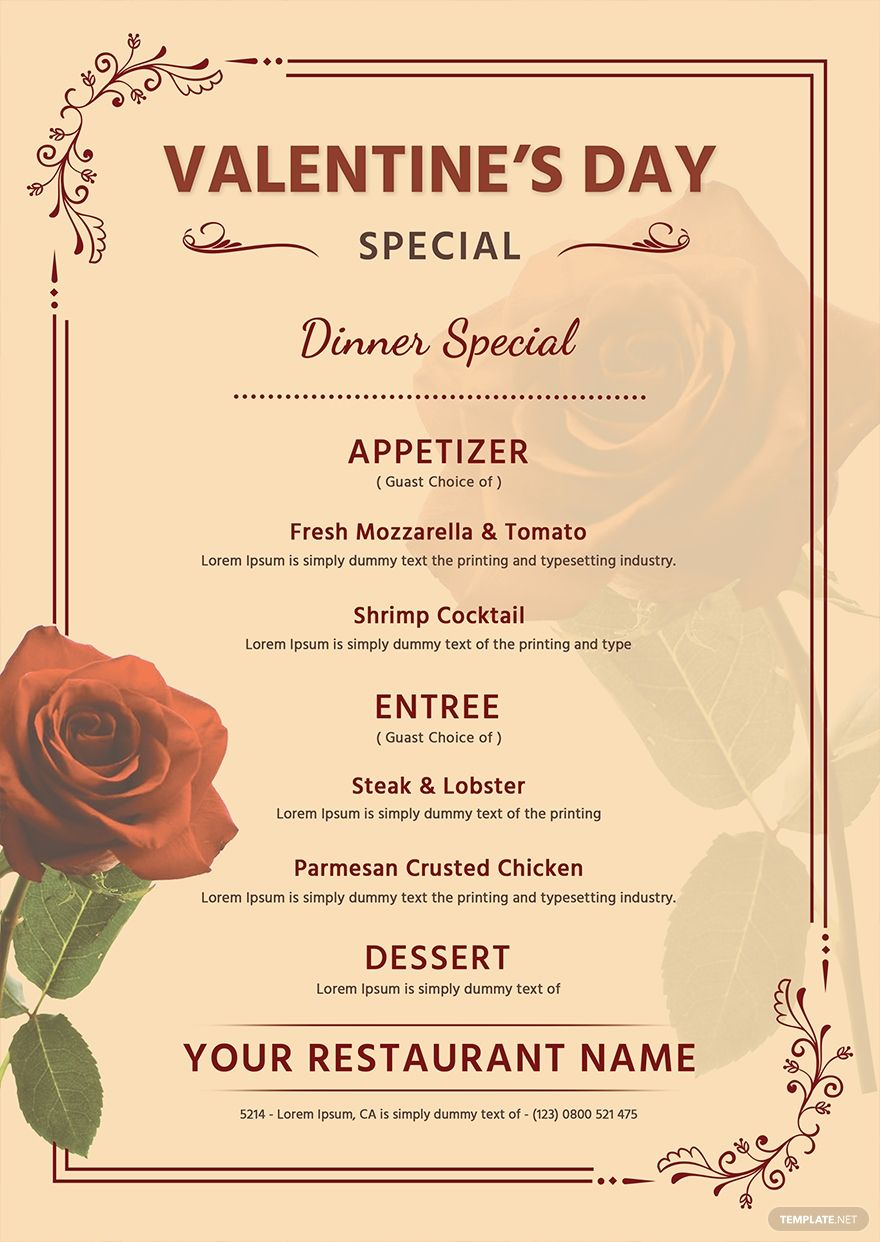 Free Editable Valentine S Day Menu Template Word Doc Psd Apple Mac Pages Publisher Outlook Menu Template Word Menu Template Menu
