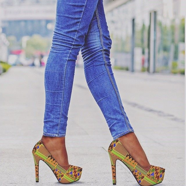 362755a71eb92 Kente High Heels   Shoes in 2019   Fashion, African fashion, African ...