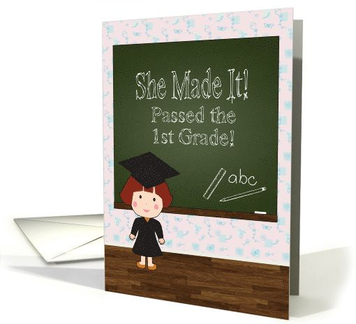 Invitation for a girl graduating from the 1st grade party card invitation for a girl graduating from the 1st grade party card greetingcarduniversejjbdesigns greetingcard greetingcarduniverse greeting card m4hsunfo
