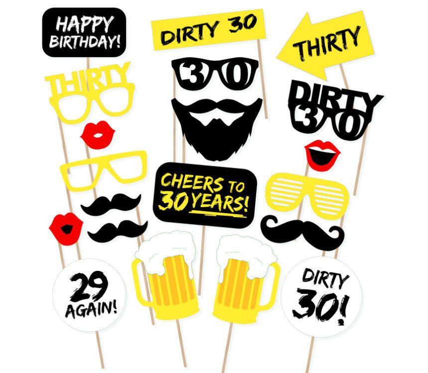 899 20Pcs 30Th Thirtieth Year Birthday Party Supplies Masks