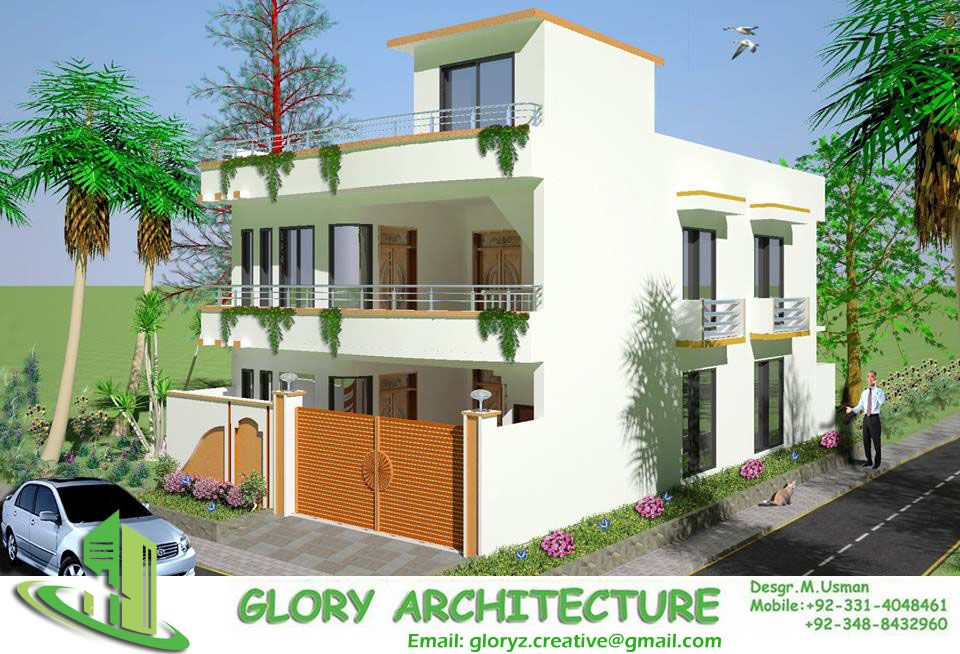 35x70 soan garden house 3D elevation 3D view 3D elevation 3D