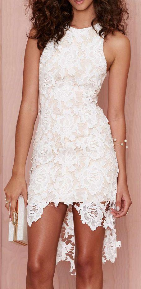 Vestido Blanco De Encaje Con Flores De Estampado Ropa