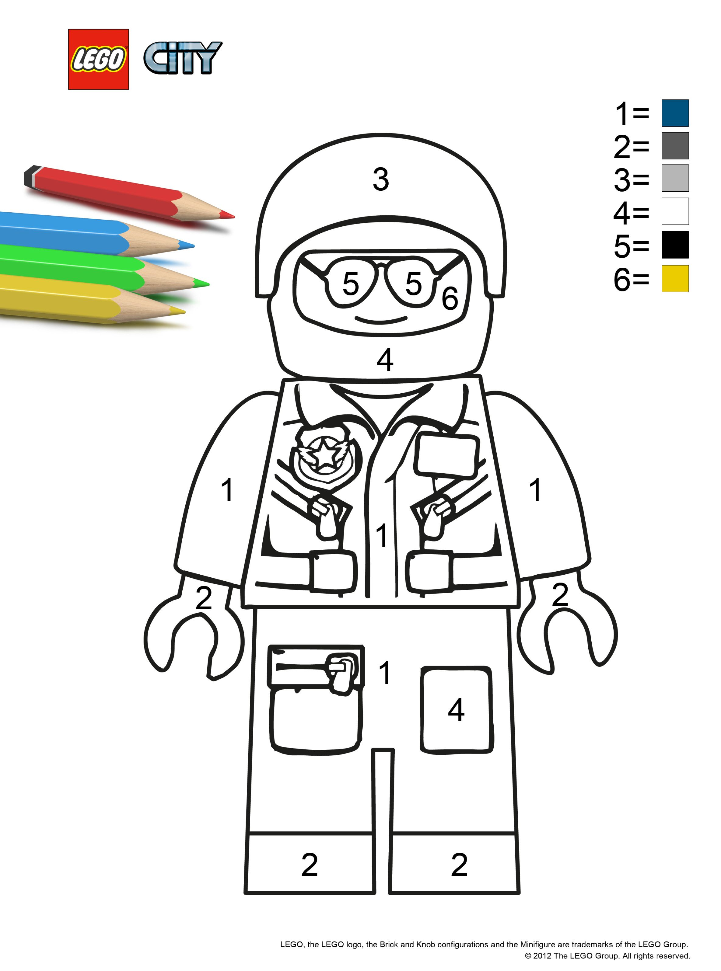 Color By Number Found On The City Lego Com Site Lego Coloring Pages Lego For Kids Lego City