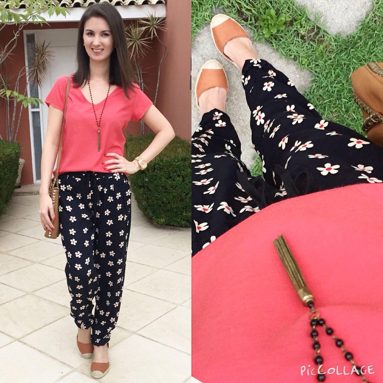 a8f86423d Look com calça pijama floral, blusa básica e espadrile Calça Pijama, Calças  Estampadas,