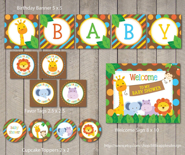 Safari Baby Shower Package Safari Baby Shower Pack Safari Party Safari Baby Shower