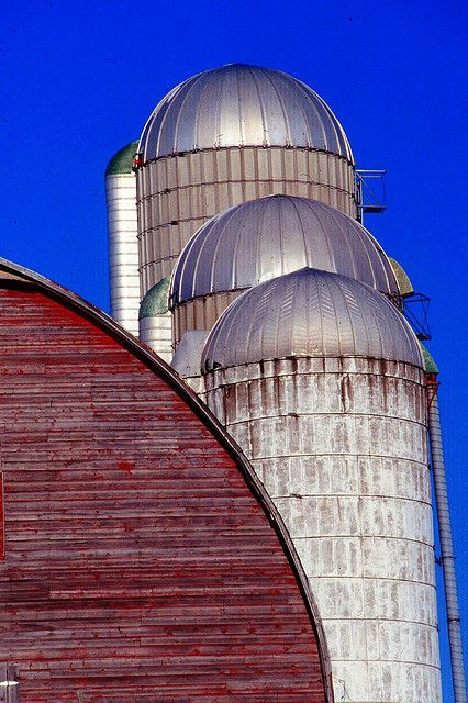 Red Barn, White Silo's, Blue Skies= USA Red, White & Blue