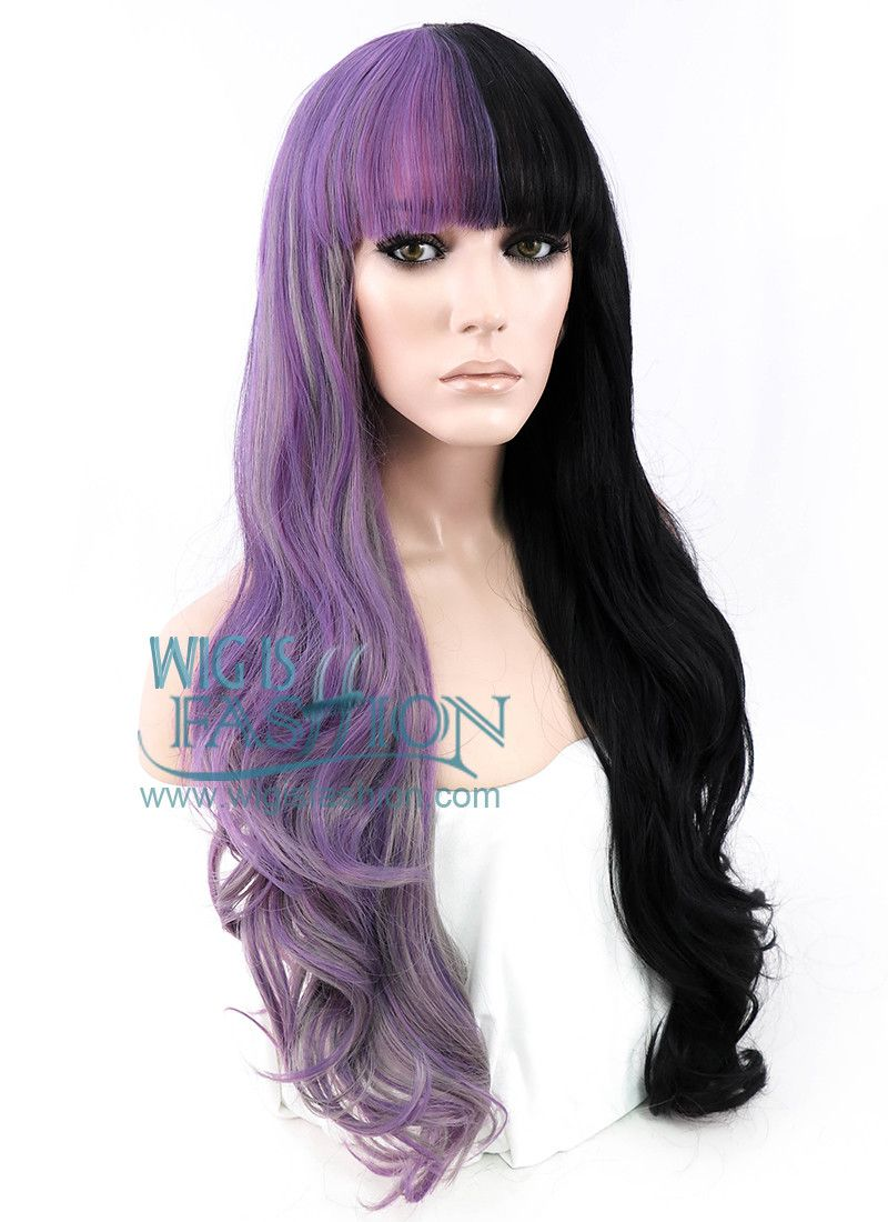24 Long Curly Purple Grey Black Mixed Lace Front Synthetic Split Color Wig Lf869 Hair Color Purple Half Dyed Hair Dyed Hair