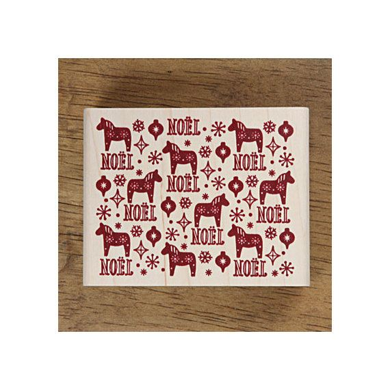 Christmas Rubber Stamp - diy christmas cards!  Dala Horse Pattern by verryberrysticker, $15.90