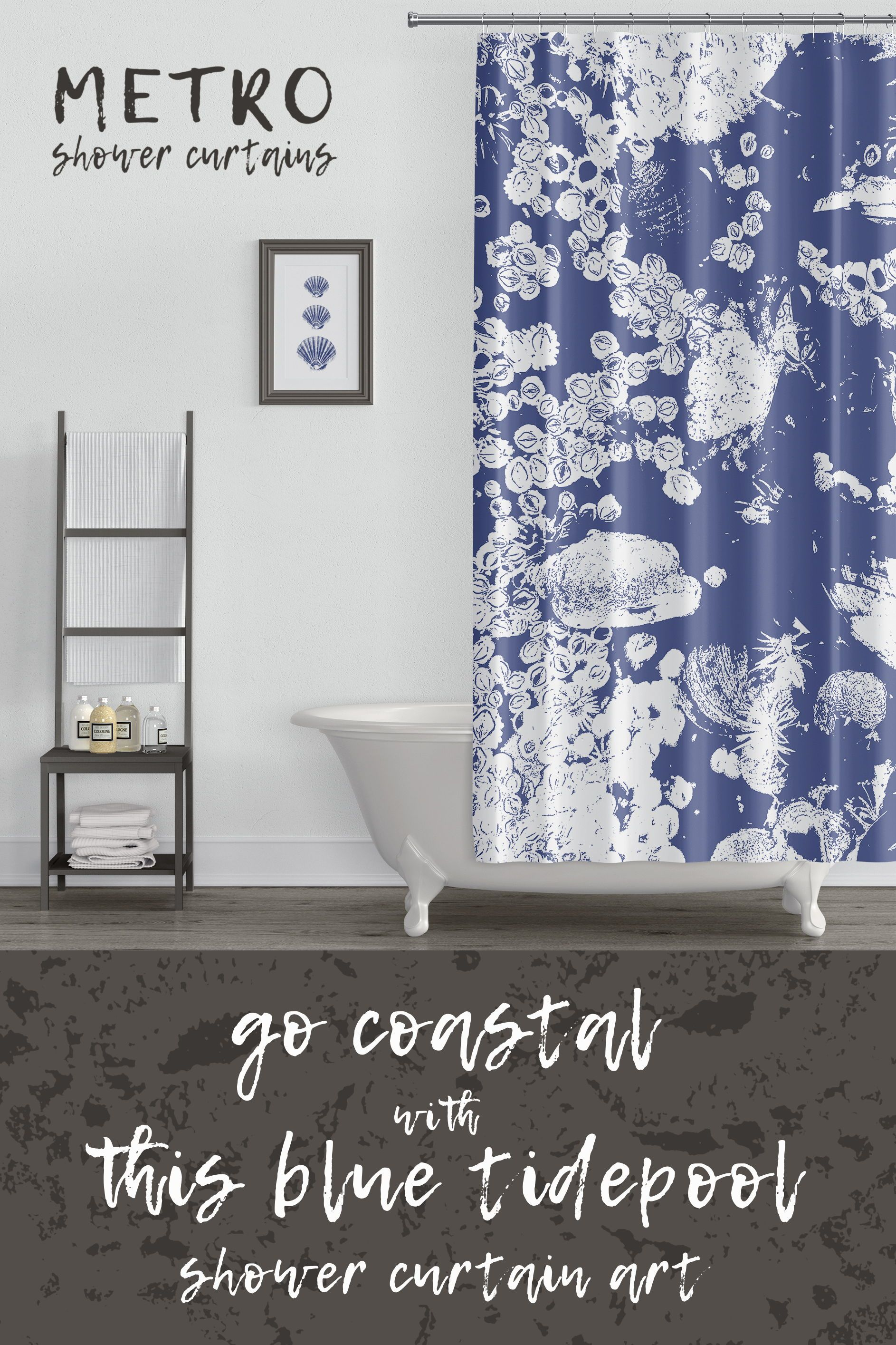 Cobalt Blue And White Northwestern Tidepool Shower Curtain Large