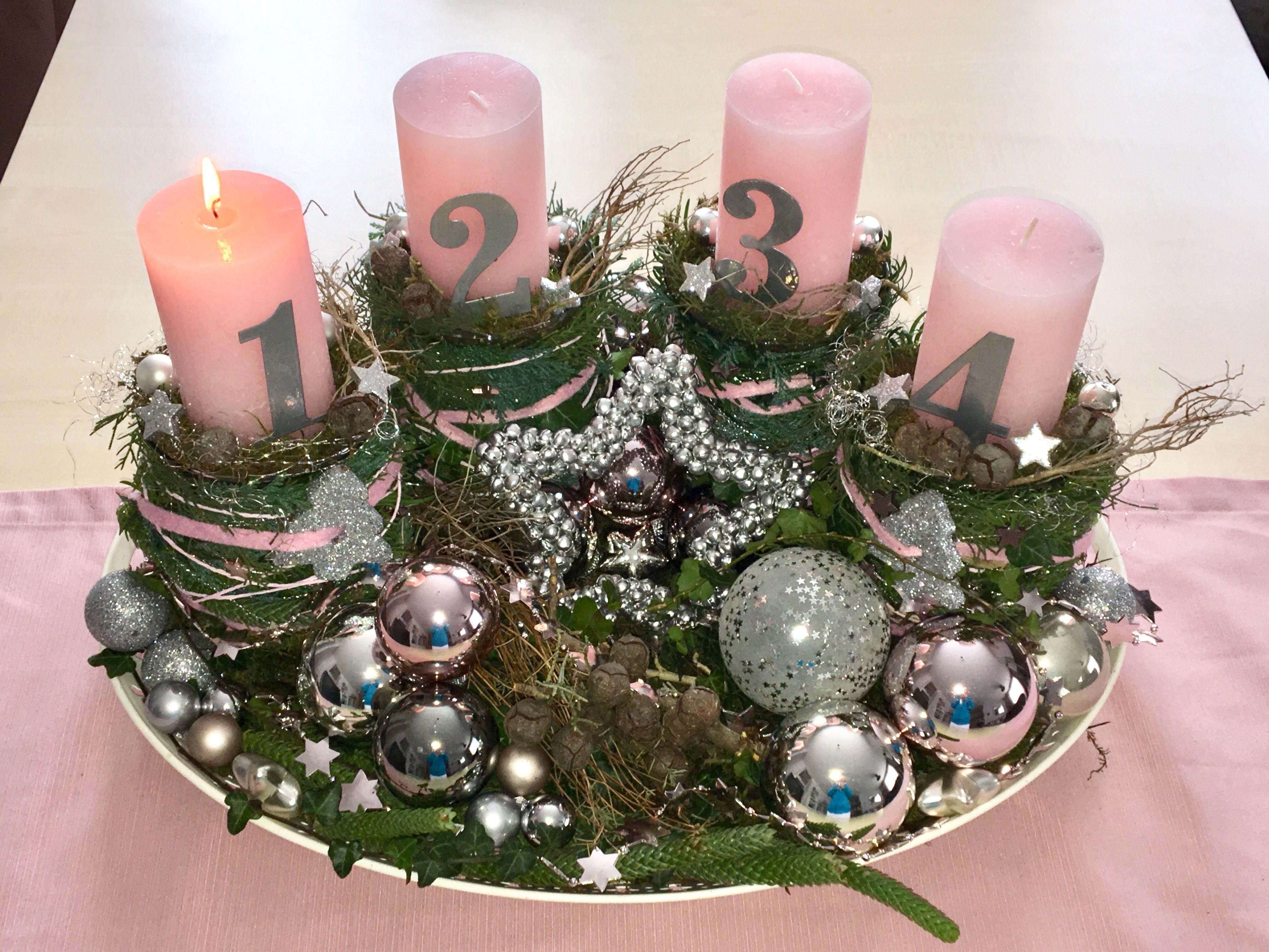 Adventskranz Rosa Silber Weihnachtsdeko Adventskranz Weihnachtsdeko Rosa Silber A Weihnachtsdeko Rosa Adventskranz Selber Machen Weihnachtsdeko