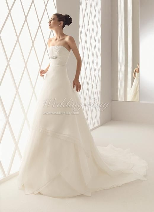 Strapless Many Ruffles Cathedral Train White Organza Wedding Gowns on sale US$174 A-line Wedding Dresses