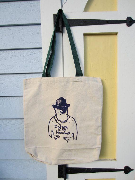 Science Nerd Tote Bag  Darwin is My Homeboy by FragglesAndFriggles, $20.00