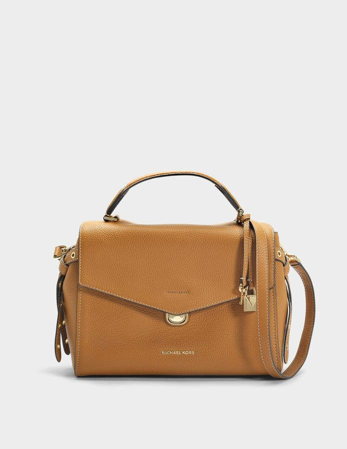 2874f67b85f3f4 MICHAEL Michael Kors Bristol Medium Top Handle Satchel Bag in Acorn Leather  18K