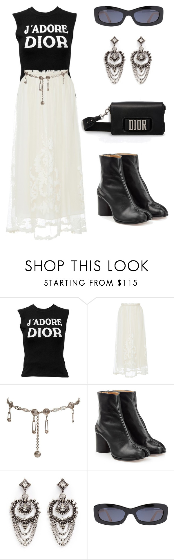 """Untitled #1102"" by lucyshenton ❤ liked on Polyvore featuring Christian Dior, Blugirl, Versace, Maison Margiela, DANNIJO and Chanel"