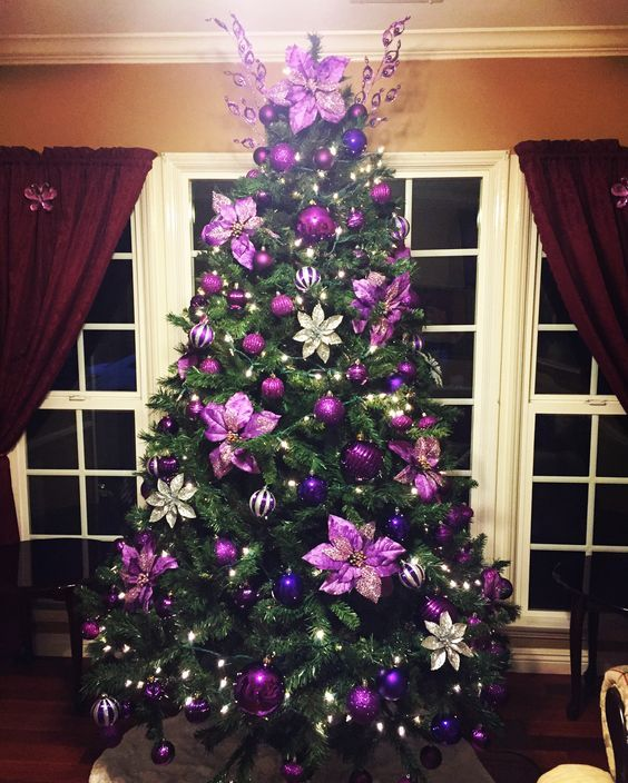 Gorgeous Purple Decoration With Flowers And Balls Purple Christmas Tree Decorations Purple Christmas Tree Floral Christmas Tree