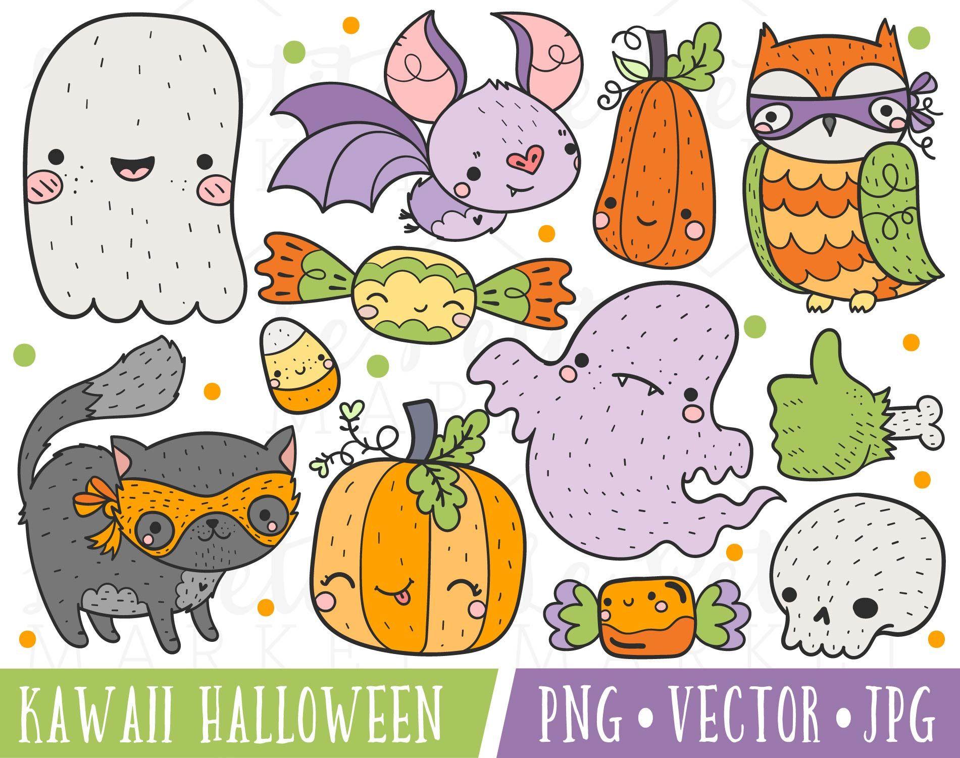 Cute Halloween Clipart Images Cute Bat Clipart Cute Etsy Halloween Clipart Halloween Clips Kawaii Clipart