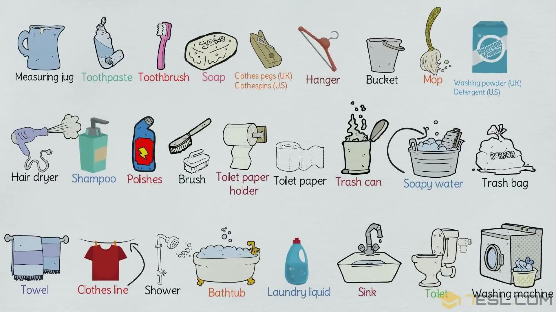 Bathroom Vocabulary: Bathroom Accessories & Furniture - 9 E S L