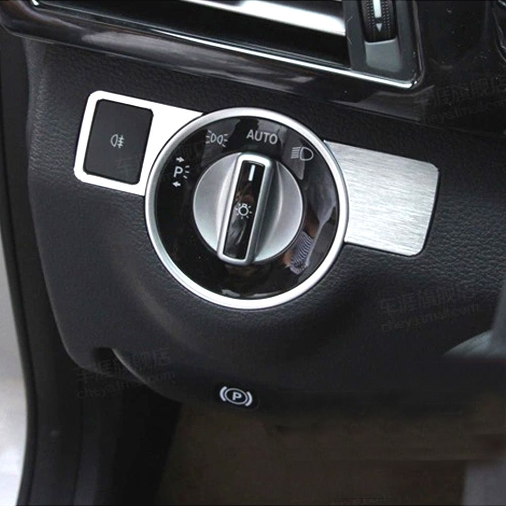 Car decoration toys  Chrome Front Head Light Switch Cover Trim Sticker for Mercedes Benz