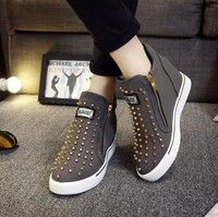 Wish | Fashion Women Spring Autumn Hidden Wedge Heels Casual Shoes Women's Elevator High-Heels Boots Rivet Chaussure Femme