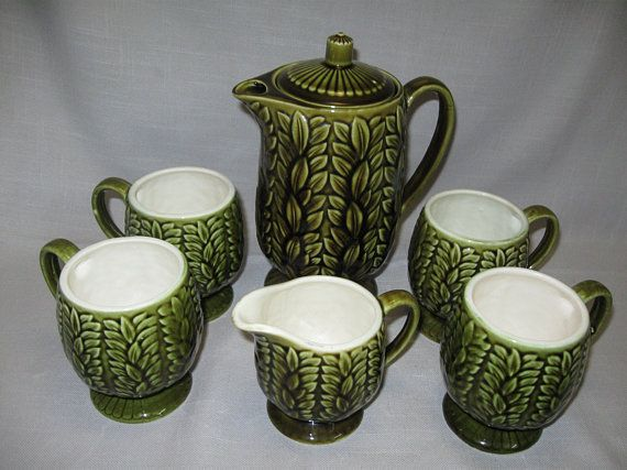 Photo of Items similar to Vintage Olive Green Tea Pot Coffee Pot Pitcher Creamer and 4 Coffee Cups emboss Leaf Design Napcoware C-792D 1950 on Etsy