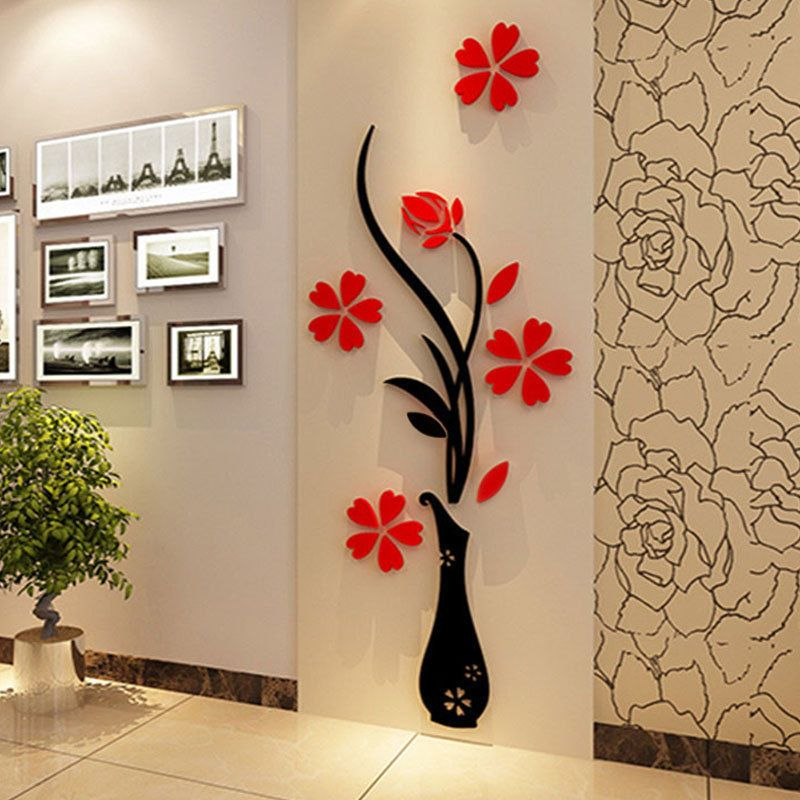 Stickers For Wall Decor 3d flower diy mirror wall decals stickers art home room vinyl