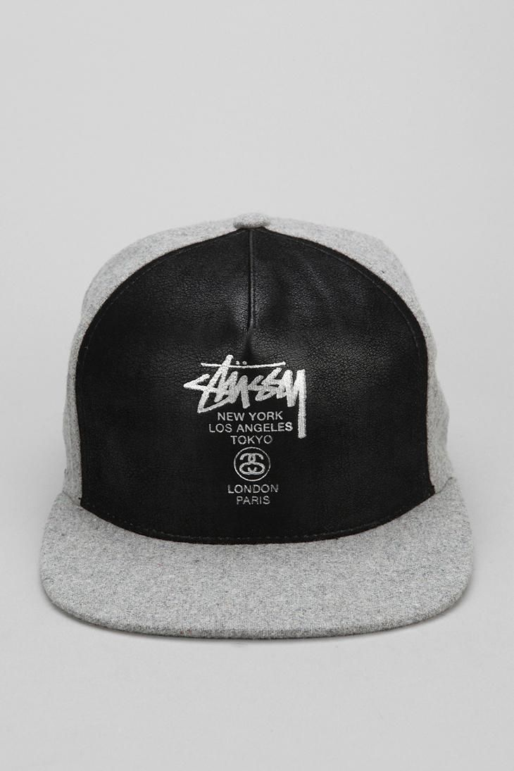 ef0a9309e Stussy World Tour Faux-Leather Snapback Hat | Shit I Would Rock ...