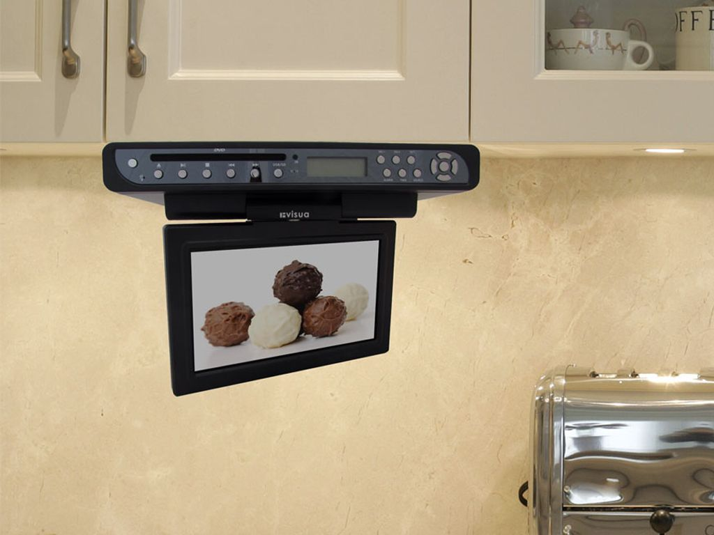 Revised Style And Upgrade Of The Invisua 10 Flipdown Under Cabinet Tv With Dvd Player Piano Black Available Now A Under Cabinet Tv Tv In Kitchen Kitchen